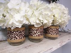 What a great idea.Set of 3 Burlap and Leopard Print Ribbon Wrapped Mason Jars. Perfect for Gifts, Home Decorations, Weddings, Storage, and Cheetah Birthday, Leopard Print Party, Animal Print Party, Animal Print Decor, Cheetah Print, Animal Print Wedding, Leopard Prints, Cheetah Baby Showers, Leopard Wedding