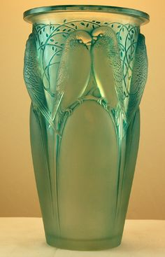 R Lalique 'Ceylon' vase Glass Ceramic, Mosaic Glass, Fused Glass, Glass Vase, Vase Lalique, Lalique Jewelry, Art Nouveau, Antique Glass, Antique Art