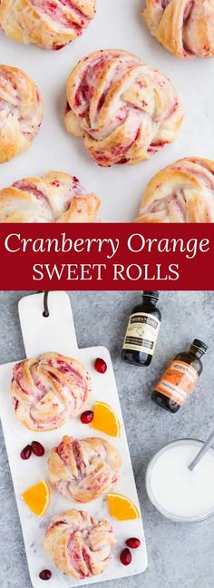 Cranberry Orange Sweet Rolls flavored with orange blossom water, filled with sweet cranberry filling, and topped with orange blossom glaze. #cranberry #orange #sweetrolls #holiday #baking via @introvertbaker