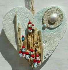 paesaggio di cuore - Pittura, 15x15x1 cm ©2015 da Donatella Marraoni - Arte figurativa, Legno, Paesaggio, paesaggio, arte moderna, donatella marraoni, artista italiana, sassi, amore, romantico, casette