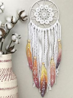 Colorful Boho Dream Catcher with Boho Style Hand Painted Feathers Hand Painted Feathers Sunset Color Inspiration Colorful Dream Catcher Shop Wild Cotton on Etsy Dream Catcher White, Dream Catcher Boho, Dream Catchers, Diy Dream Catcher For Kids, Dream Catcher Painting, Rainbow Nursery Decor, Feather Painting, Colorful Wall Art, Wall Colors