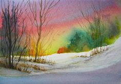 Winter Sky And Snowfield A watercolor study for a larger painting by Janis Goldblatt