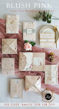 Blush Pink Laser Cut Wedding Invitations with Rose Gold and Silver Accents Budget Wedding Invitations, Wedding Invitation Inspiration, Pink Invitations, Elegant Wedding Invitations, Wedding Invitation Cards, Wedding Stationery, Wedding Cards, Invites, Wedding Gifts