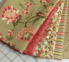 SUBTLE SUNSET ~ 6 Quilt Fabric Fat Quarters - Faye Burgos for Marcus Brothers - coral, yellow, tan
