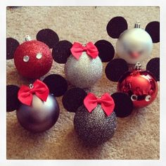 Minnie and Mickey homemade ornaments!!