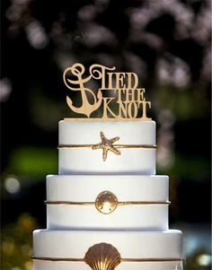 "Tied the Knot with Anchor Cake Topper will bring you an opportunity to personalize your wedding cake and will help to make it unique. Nautical Cake Topper is perfect for beach, rustic wedding, country wedding, outdoor wedding, shabby chic wedding.Material – made of woodSize - 5""- 7"" wideCustom wedding cake topper can be personalized with *The wedding date * Mr"
