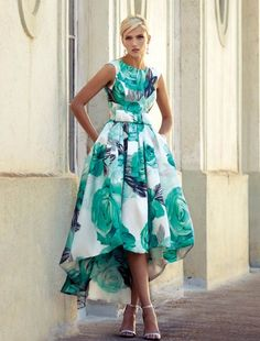 93540 - Carla Ruiz 93540 -B. Beautiful Verde floral dress with fitted bodice and a full skirt and high and low hemline only available at Blessings Occasion Wear Boutique, Brighton, East Sussex. Lovely Dresses, Elegant Dresses, Beautiful Outfits, Casual Dresses, Short Dresses, Modest Fashion, Fashion Dresses, Dress Skirt, Dress Up