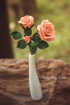 PATRÓN de GANCHILLO ganchillo patrón rosa por HappyPattyCrochet