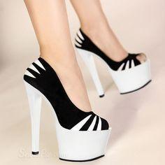 Shoespie Colors Contrast Peep-toe Heels