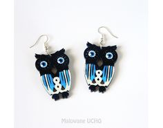 Black owls hand painted on wood