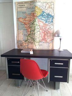 Mid 20th Century, Velum covered, Industrial Metal Desk