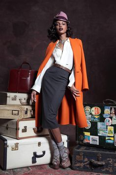 Dsquared² Pre-Fall 2013 - Look 1 [Not loving the styling. But the orange coat is divine.]
