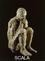 Scala Archives Code: AF00211  Artist: ********  Title: Seated man. Victim of the eruption of Mount Vesuvius  Genre: Documentary  Period/Style: Not available  Location: Palestra grande  Pompeii