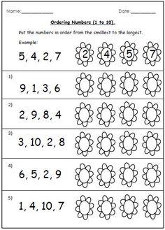 grade, grade Math Worksheets: Putting numbers in order, numbers up to 60 Basic Math Worksheets, 1st Grade Worksheets, Number Worksheets, Worksheets For Kids, Math Resources, Preschool Activities, Lkg Worksheets, Printable Worksheets, Free Printable