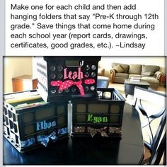 Organize your children's school keepsakes