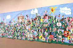 Every Year we try to do some sort of All School mural in the beginning of the year. This year we did a Lego theme. Each student made a lego self portrait. The fifth graders made giant Legos, and decorations for the background. Some of the teachers made one and the students have had so much fun looking for them.
