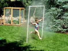 PWC Sprinkler Water Toy:    2 ten foot lengths of PVC  3 end caps  1 threaded female hose connector (slip fit)  2 elbow joints (90 degree)  2 T connections  1 pack quarter circle mister jets (12 count)
