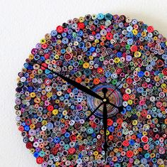 Large Paper Wall Clock, Large Wall Clock, Home and Living, Paper Clock, Eco Friendly Decor, Recycled Art, Home Decor