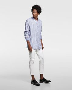 ZARA - MAN - STRIPED SHIRT WITH MANDARIN COLLAR
