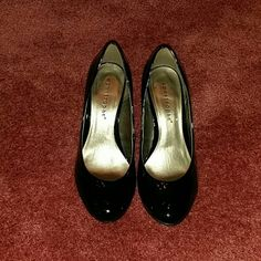Black Pumps Polished Blaack Pumps, Only Worn Once, 2 inch Heels, Man Made Materials, No Specifications, Well Polished Like Patent Leather, No Trades and No Holdings Apostrophe Shoes Heels