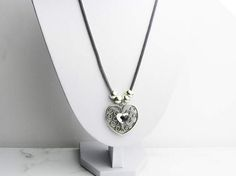 Mom Gift, Silver Heart Necklace, Silver Heart Pendant, Heart Pendant Necklace, Silver Necklace, Mother's Day gift, Gifts For Mom  This silver heart pendant is made using silver swarovski crystals, silver plated heart pendant, silver plated mesh chain.