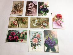 Set 9 vintage used french postcards 1918 - Floral postcards,classic rose, winter landscape, po French Postcards, Photo Postcards, Etsy Handmade, Handmade Items, Vintage Store, Bouquet, Different Flowers, Winter Landscape, Fantasy