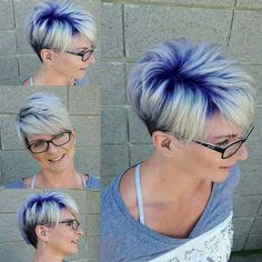 Image result for platinum pixie hair with purple colored highlights