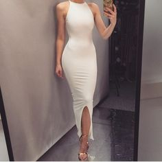 White Polyester Prom Dresses Ankle-Long Sheath Evening Dresses Front Slit Formal Pageant Gowns Sexy Party Dresses