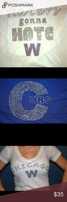 Customizable bling Chicago did it they FINALLY broke the curse .  Buy one of these customize shirts to show your team support for the Cubs. Or if you have a different team you like I can customize that and turn it into crystals and put it on any bag,hats or shirt. Accessories