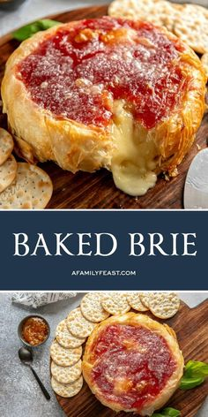 Learn how to make this easy Baked Brie wrapped in phyllo dough with jam. A delicious and gooey appetizer, plus it's gorgeous to look at! - Baked Brie wrapped in phyllo dough and jam. A delicious and gooey appetizer, plus it's gorgeous to look at! Baked Brie Appetizer, Appetizer Recipes, Burger Recipes, Cheese Appetizers, Dip Recipes, Thanksgiving Appetizers, Thanksgiving Recipes, Holiday Appetizers, Best Appetizers