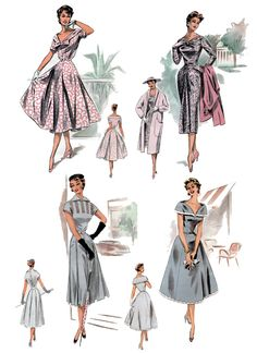 Study in Grey and Pink 1950s Fashion Collage Sheet in 3 sizes D149