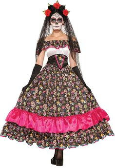 One of the most exotic Day of the Dead costumes you will ever see. The dress has a white bodice with neckline ruffle and full sugar skull printed skirt with a bright pink ruffle and ribbon trimmed hem