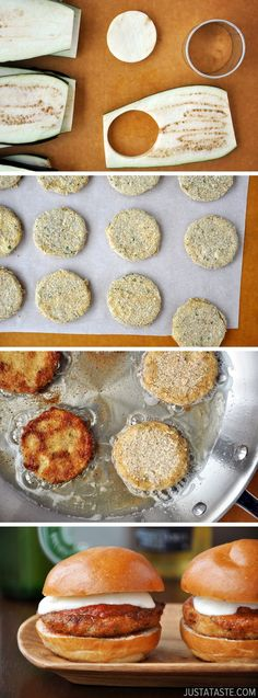 Eggplant Parmesan Sliders..instead of flour and bread crumbs I could use pork rinds. Also, make oopsie bread for buns.