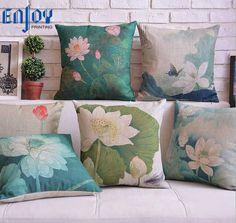 Square Throw Pillow Case Cotton linen Sofa Cushion Cover Home Decor Lotus Pond   Home & Garden, Home Décor, Pillows   eBay!