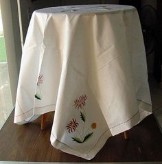 Beautiful 1930's Linen Tablecloth with Silk by chalcroft on Etsy, $14.95