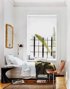 Leather Sling Chair + Gilded Mirror + Army Blanket