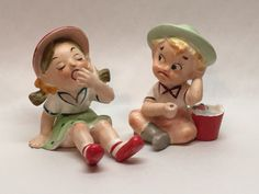 Vtg UCAGCO Ceramics Girl in Dress Boy Fishing W/ Crab Bucket Figurine Japan W9 | eBay