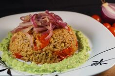 Vine Tomato, Chili & Herb Risotto served with a Creamy Pea Puree and topped with Caramelized Red Onions