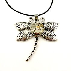 Silver Dragonfly Necklace    Clockwork Dragonfly by SteamSect, $34.00