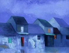 (Vietnam) Blue Evening by Dao Hai Phong. Oil on canvas. Fine Arts College, Building Painting, Cottage Art, Painting Inspiration, Home Art, Kai, Contemporary Art, Original Paintings, Abstract