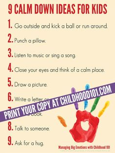 9 Calm Down Ideas for Kids Printable Poster