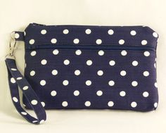 Navy & White Polka Dot iPhone 6 Plus/ Samsung Galaxy with Otterbox Wristlet Wallet; Large Cell Phone Wristlet; Cell Phone Purse by ChristyRaynDesigns on Etsy