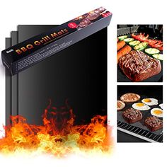 On'h BBQ Set of 3 - Grill Mats - Burger Press - Drying Mat -Reusable for Gas Charcoal Electric Grill Ovens Grilling Accessories