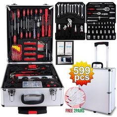 SUNCOO 799 Pieces Mechanics Tool Set Standard Metric Hand Tool Kit with Case Box Organize Castors Trolley (Silver Case) Best Hand Tools, Hand Tools List, Storage Trolley, Trolley Case, Tool Poster, Hand Tool Sets, Mechanic Tools, Garage Tools, Tool Steel