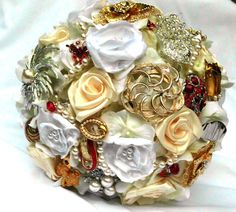 Wedding Bouquet Brooch Bridal Ivory White Red by AfternoonDelite, $160.00