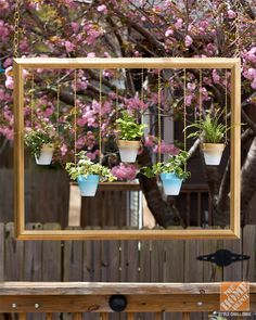 Hang potted plants from chains suspended in a picture frame