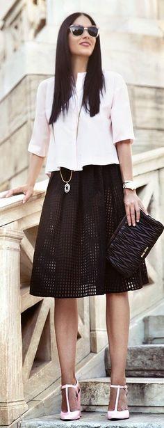Choies Black Full Flirty Eyelet Cutout A-line Midi Skirt by Serial Klother