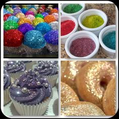 edible glitter on a variety of foods