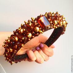 """Купить Ободок """"Осенний"""" - коричневый, ободок для волос, ободок для девушки, подарок девушке, обруч для волос"""