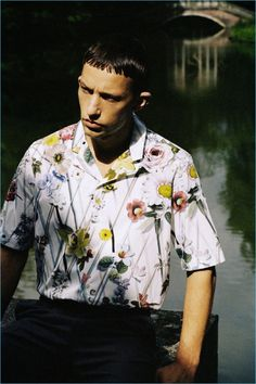 Making a case for floral prints, Leo Topalov sports a must-have shirt by Christian Lacroix.